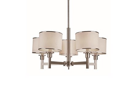 Chandelier-Nickel And Linen Shade 5-Light - Main