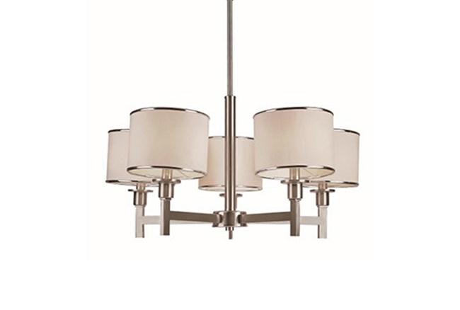 Chandelier-Nickel And Linen Shade 5-Light - 360