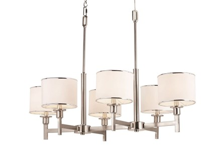 Chandelier-Nickel And Linen Shade Island