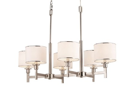 Chandelier-Nickel And Linen Shade Island - Main
