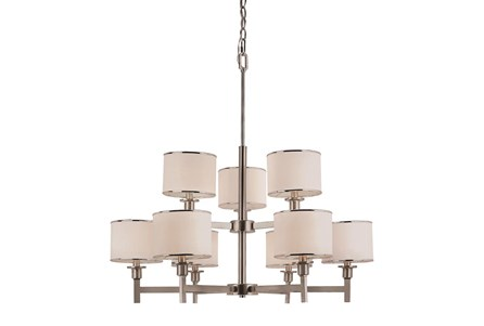 Chandelier-Nickel And Linen Shade 9-Light