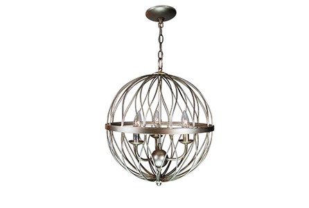 Pendant-Lattice Globe Silver 3-Light
