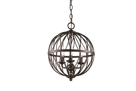 Pendant-Lattice Globe Bronze 3-Light