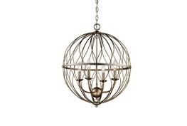 Pendant-Lattice Globe Antique Gold 4-Light