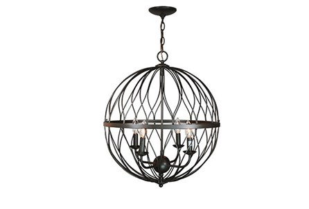Pendant-Lattice Globe Bronze 4-Light