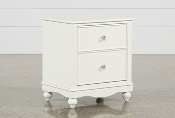"""Madison White 2-Drawer 26"""" Nightstand With LED Night Light"""