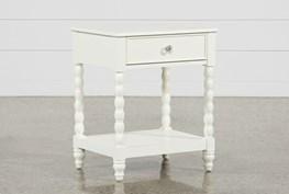 Madison White 1-Drawer Nightstand