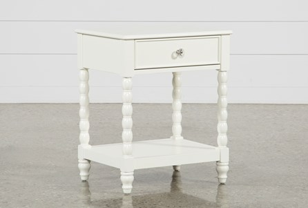 Madison White 1-Drawer Nightstand