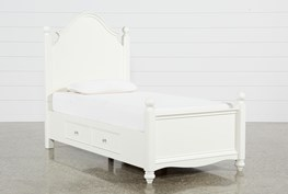Madison White Twin Poster Bed With 1 Side Storage