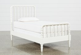 Madison White Twin Spindle Panel Bed