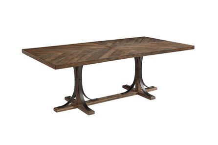 Magnolia Home Shop Floor Dining Table With Iron Trestle By Joanna Gaines - Main