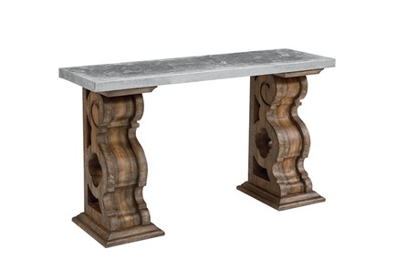 Magnolia Home Double Pedestal Sofa Table With Zinc Top By Joanna Gaines