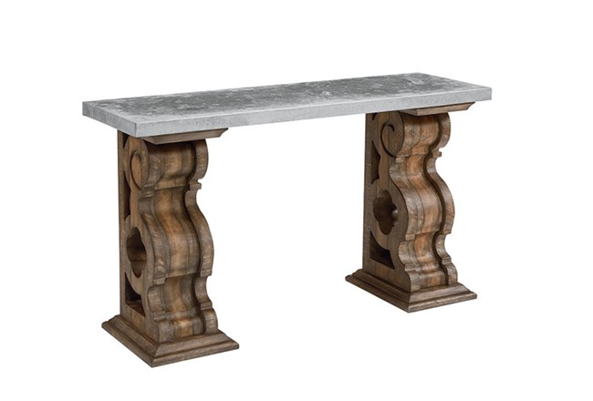 Magnolia Home Double Pedestal Sofa Table With Zinc Top By Joanna Gaines - 360