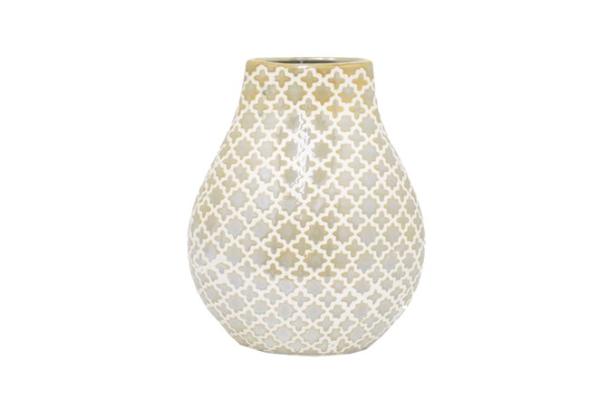 10 Inch Gold And White Vase Living Spaces