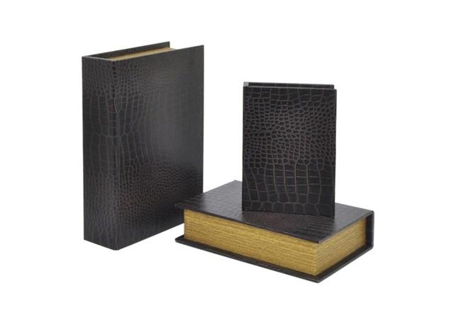 3 Piece Set Black Wood Book Box - 360