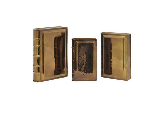3 Piece Set Copper Ceramic Books - 360