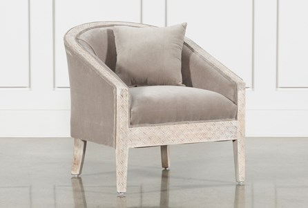 Upholstered And White Wash Carved Chair