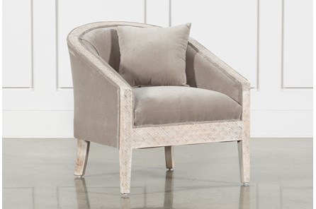Upholstered And White Wash Carved Chair - Main