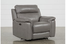 Dino Grey Leather Power Recliner With Power Headrest & USB