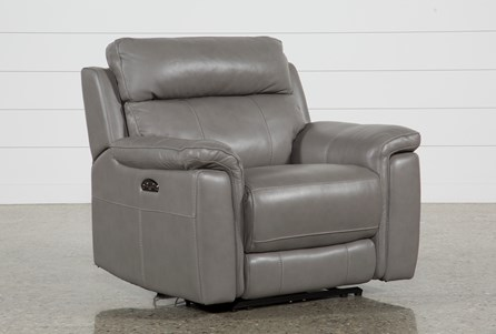 Dino Grey Leather Power Recliner W/Power Headrest & Usb