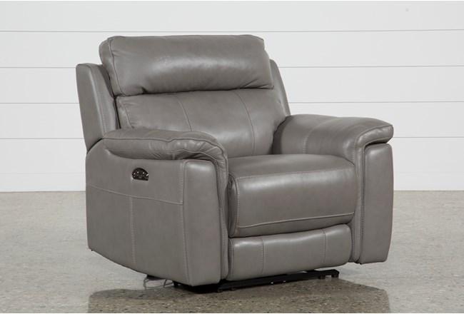 Dino Grey Leather Power Recliner W/Power Headrest & Usb - 360