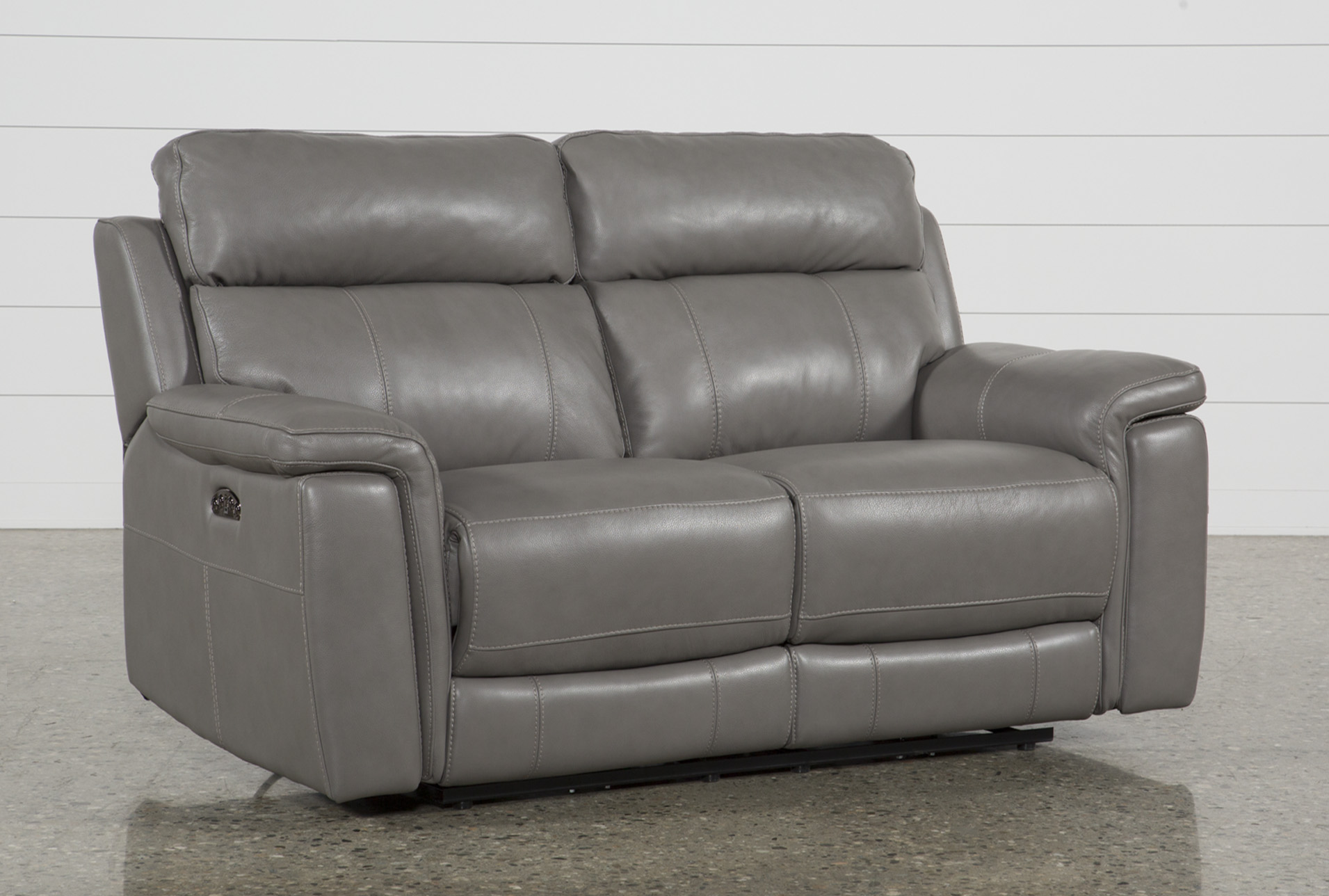 Picture of: Dino Grey Leather 68 Power Reclining Loveseat With Power Headrest Usb Living Spaces