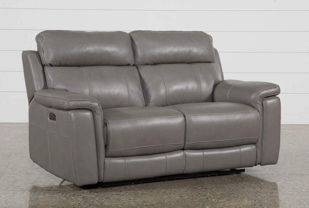 Dino Grey Leather Power Reclining Loveseat W/Power Headrest & Usb