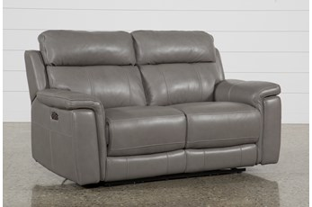 "Dino Grey Leather 68"" Power Reclining Loveseat With Power Headrest & USB"