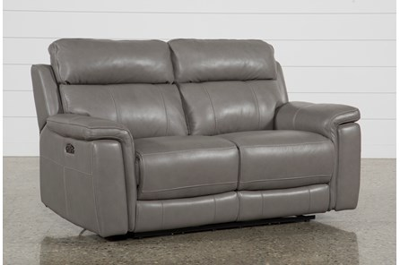 Dino Grey Leather Power Reclining Loveseat W/Power Headrest & Usb - Main