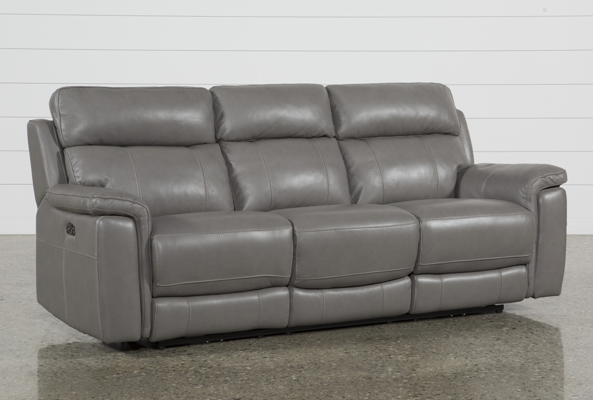 Picture of: Dino Grey Leather 91 Power Reclining Sofa With Power Headrest Usb Living Spaces