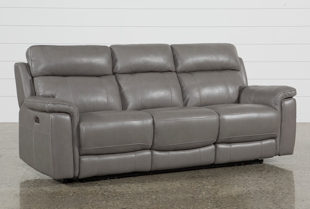 Dino Grey Leather Power Reclining Sofa W/Power Headrest & Usb