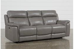 "Dino Grey Leather 91"" Power Reclining Sofa With Power Headrest & USB"