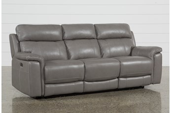 "Dino Grey Leather 91"" Power Reclining Sofa With Power Headrest & USB"