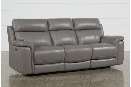 Dino Grey Leather Power Reclining Sofa W/Power Headrest & Usb - Main