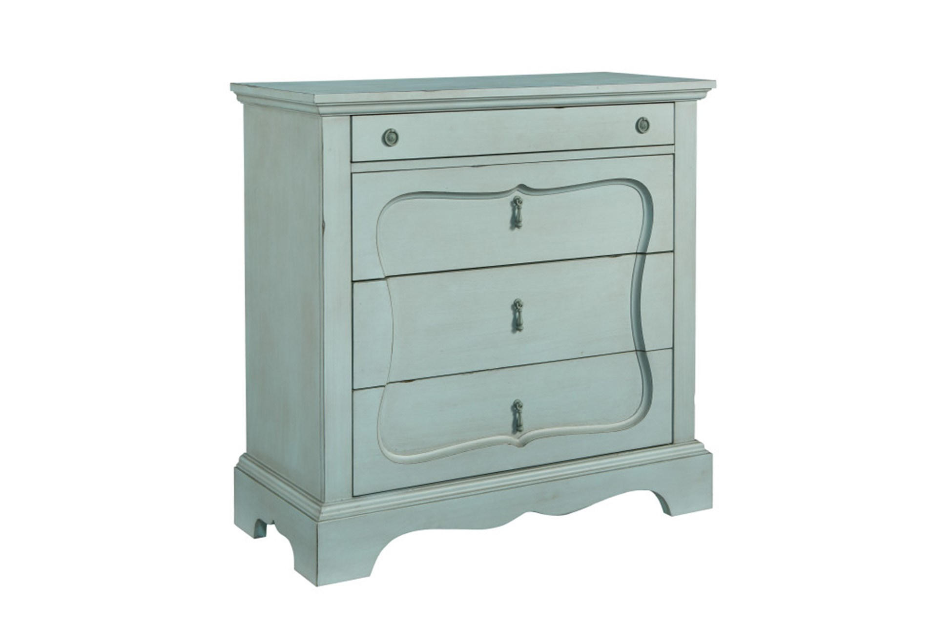 Magnolia home silhouette french blue 4 drawer chest by joanna gaines qty 1 has been successfully added to your cart