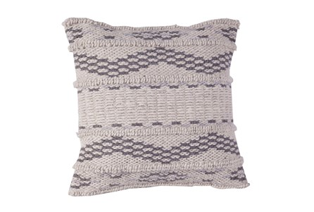 Accent Pillow-Charcoal Zig Zag Stripe 18X18