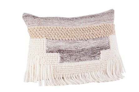 Accent Pillow-Grey And Taupe Fringe 14X20 - Main