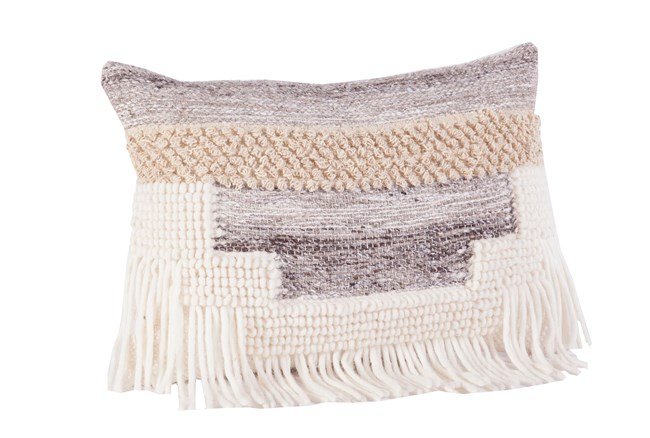 Accent Pillow-Grey And Taupe Fringe 14X20 - 360
