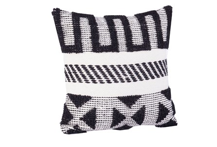 Accent Pillow-Black & Ivory Pattern Blocks 18X18