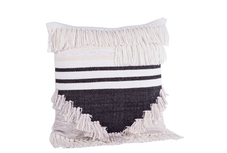 Accent Pillow-Black & Cream Fringe 18X18