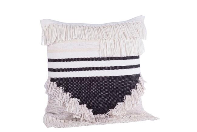 Accent Pillow-Black & Cream Fringe 18X18 - 360