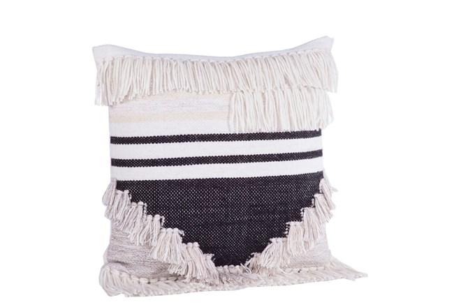 Accent Pillow Black Cream Fringe 18x18 Living Spaces