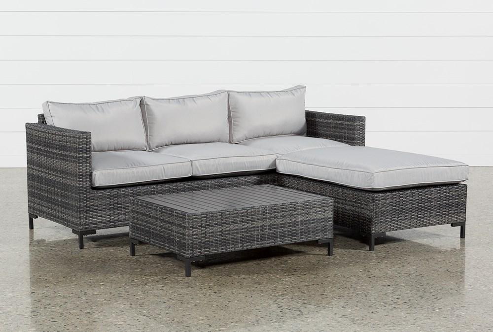 Outdoor Domingo II Sofa W/Reversible Chaise & Coffee Table ...