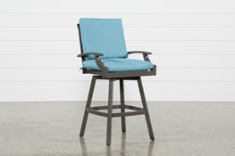 Outdoor Martinique II Aqua Swivel Bar Stool
