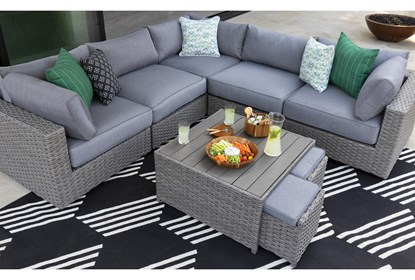 Koro Outdoor Coffee Table With 2 Ottomans Living Spaces