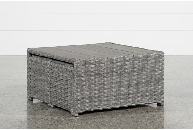 Koro Outdoor Coffee Table With 2 Ottomans - 360