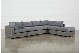 """Koro Outdoor 6 Piece 136"""" Sectional With 1 Ottoman & 2 Corners"""