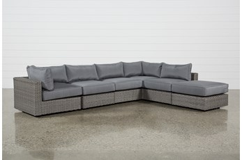 Koro Outdoor 6 Piece Sectional W/1 Ottoman & 2 Corners