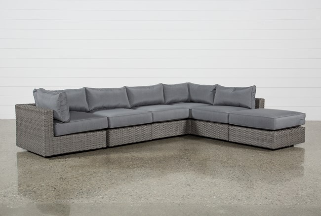 """Koro Outdoor 6 Piece 136"""" Sectional With 1 Ottoman & 2 Corners  - 360"""