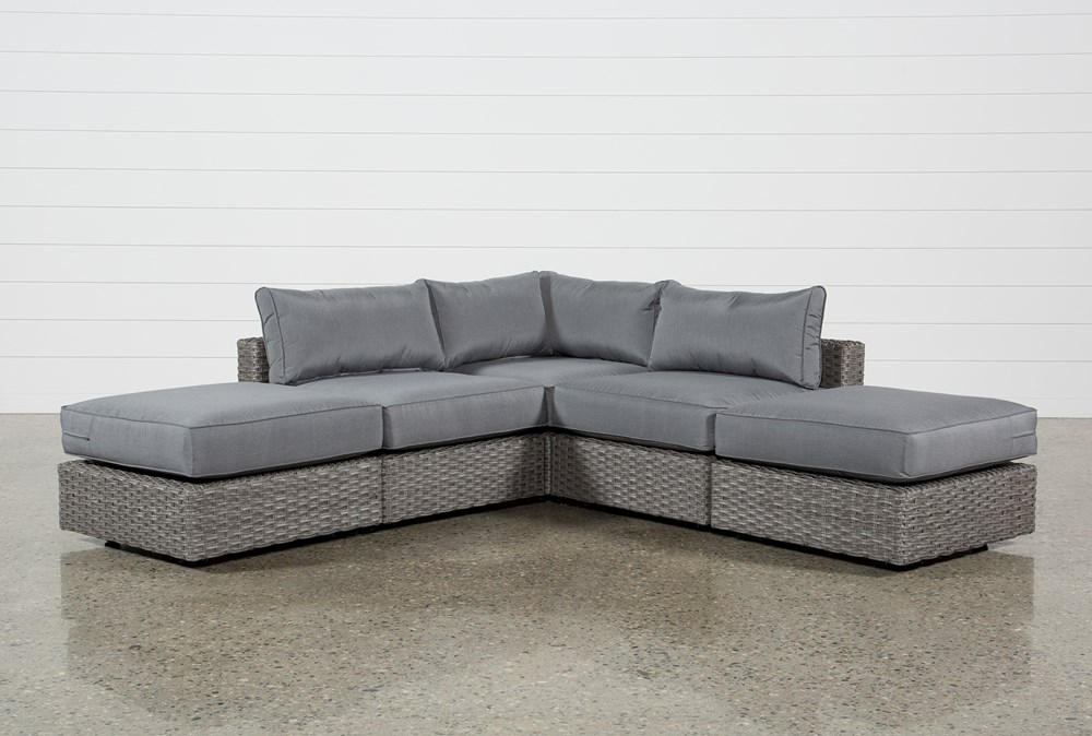 """Koro Outdoor 5 Piece 99"""" Sectional With 2 Ottomans"""